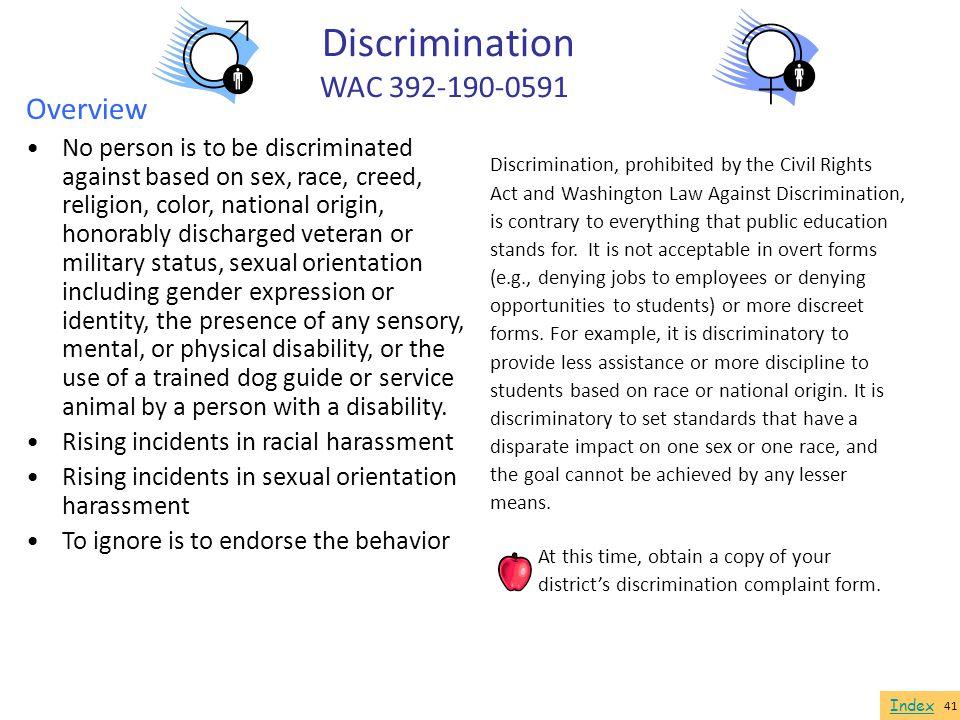 Discrimination WAC 392-190-0591 Overview