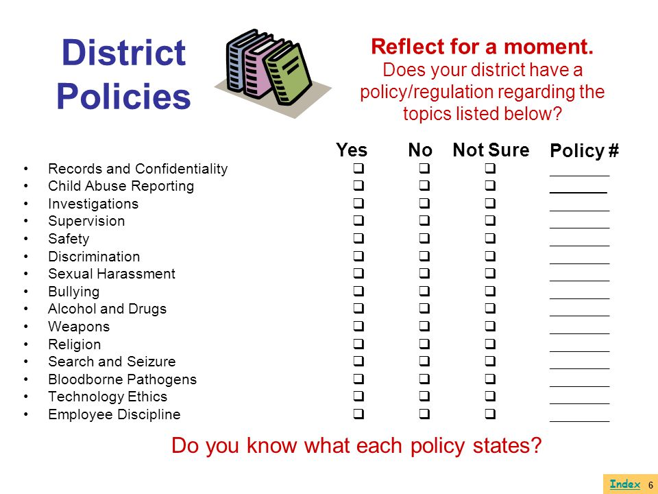 District Policies Reflect for a moment. Does your district have a policy/regulation regarding the topics listed below