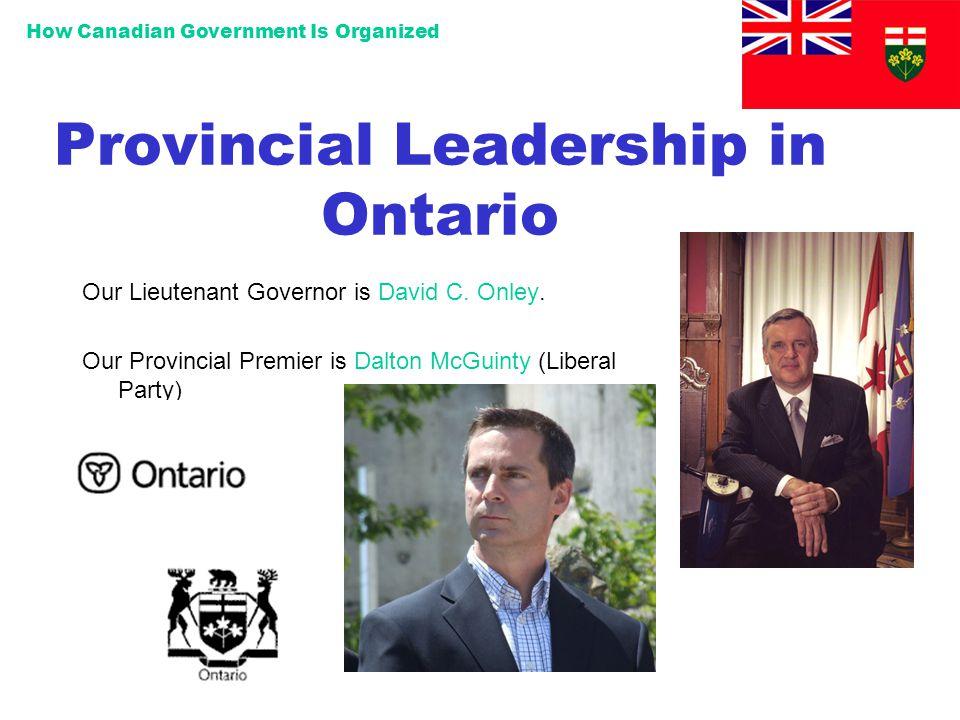 Provincial Leadership in Ontario