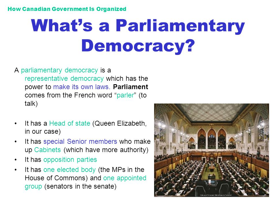 Parliamentary Democracy How Canadian Governmen...