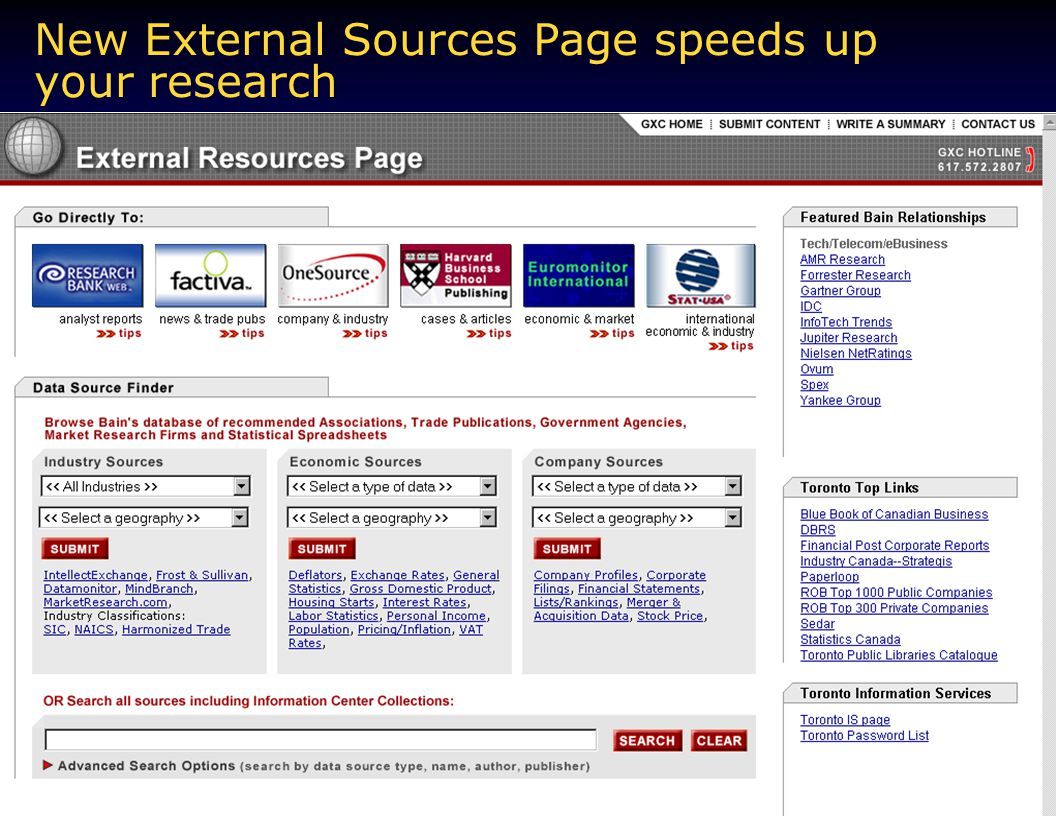 New External Sources Page speeds up your research