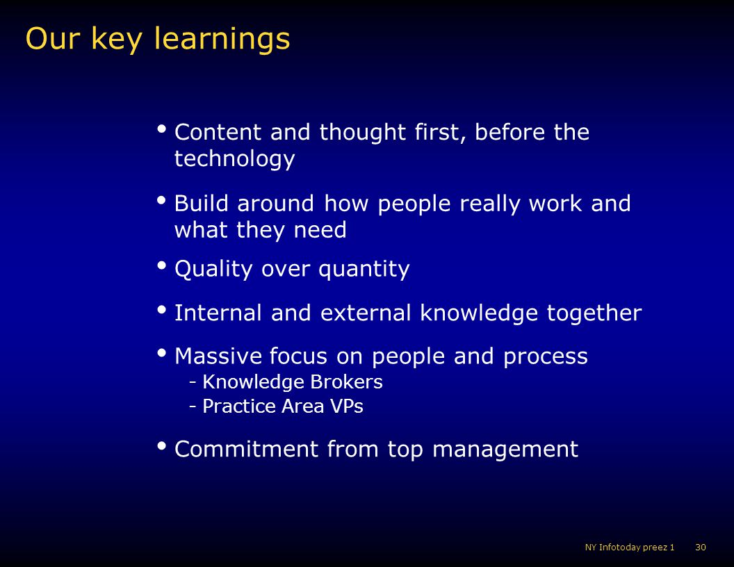Our key learnings Content and thought first, before the technology