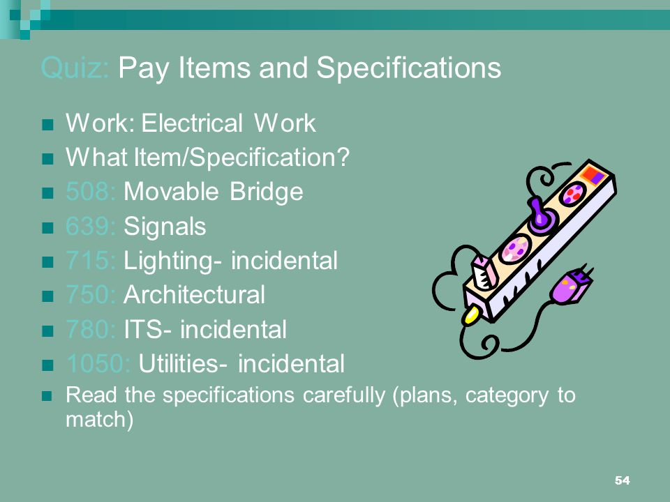 Quiz: Pay Items and Specifications