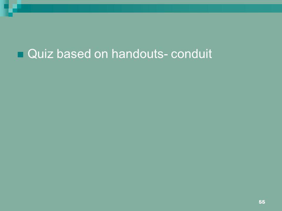 Quiz based on handouts- conduit