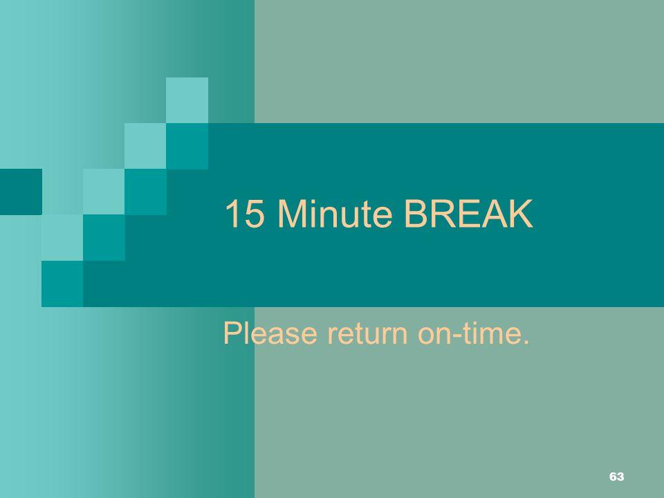 15 Minute BREAK Please return on-time.