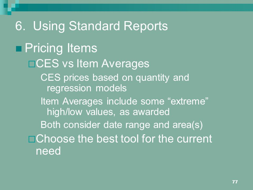 6. Using Standard Reports
