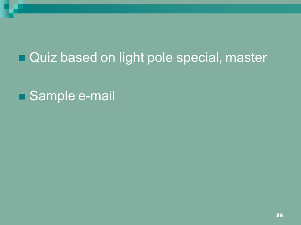 Quiz based on light pole special, master