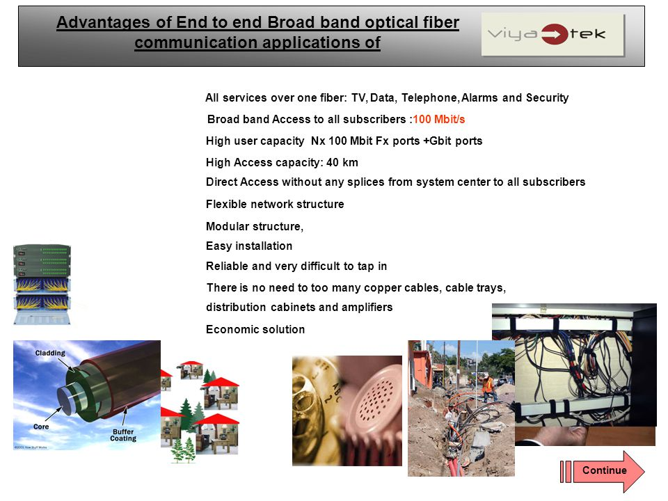 Advantages of End to end Broad band optical fiber communication applications of
