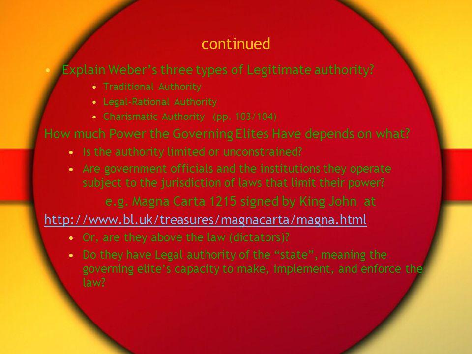 continued Explain Weber's three types of Legitimate authority
