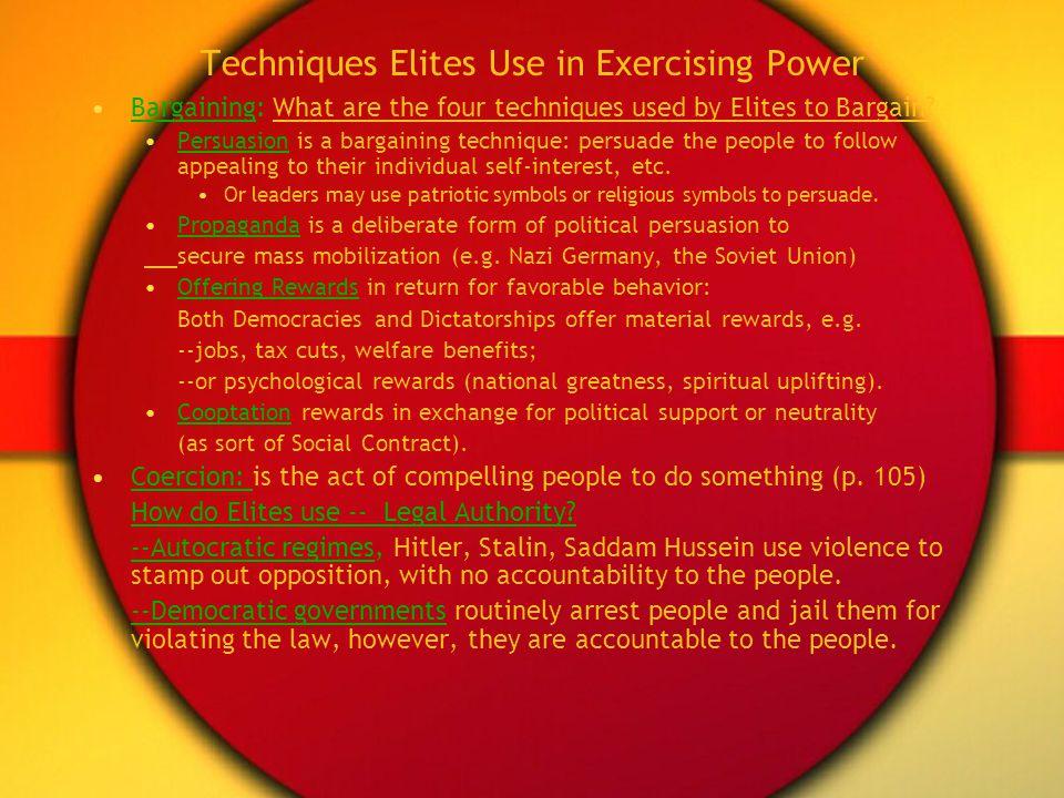 Techniques Elites Use in Exercising Power