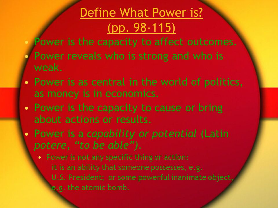 Define What Power is (pp. 98-115)