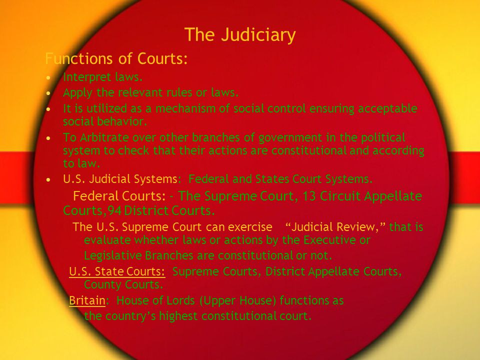 The Judiciary Functions of Courts:
