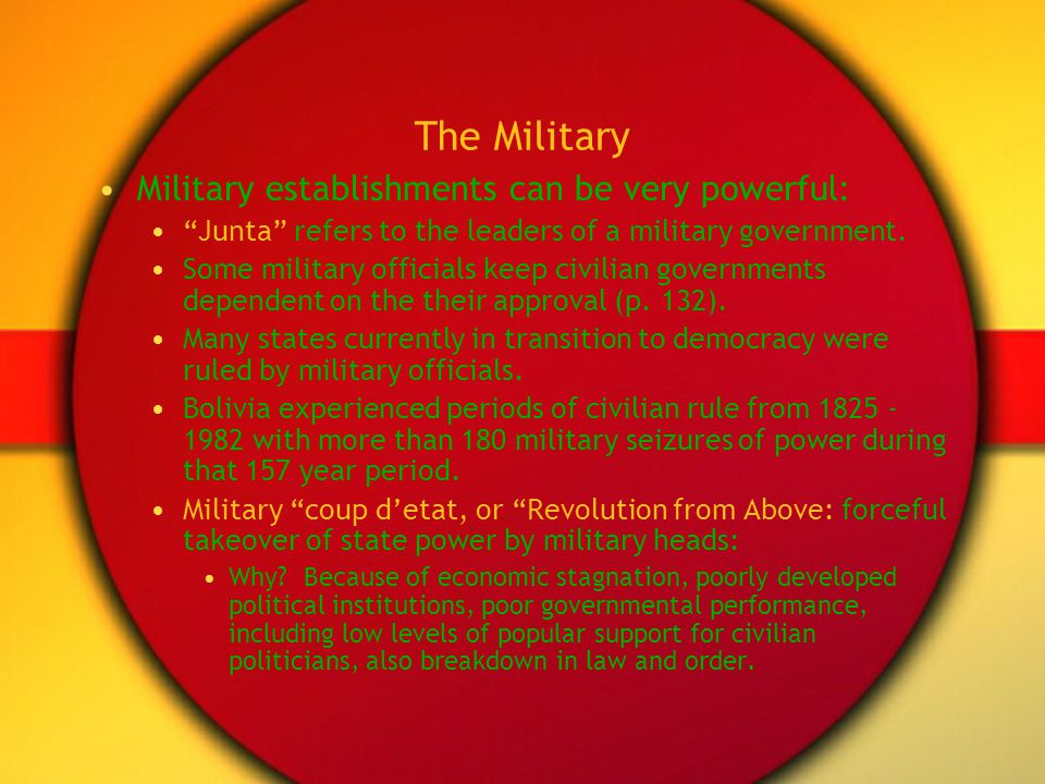 The Military Military establishments can be very powerful: