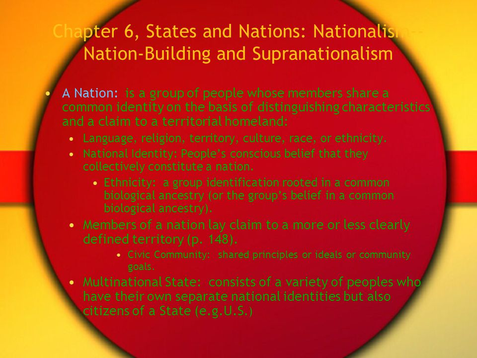 Chapter 6, States and Nations: Nationalism--Nation-Building and Supranationalism