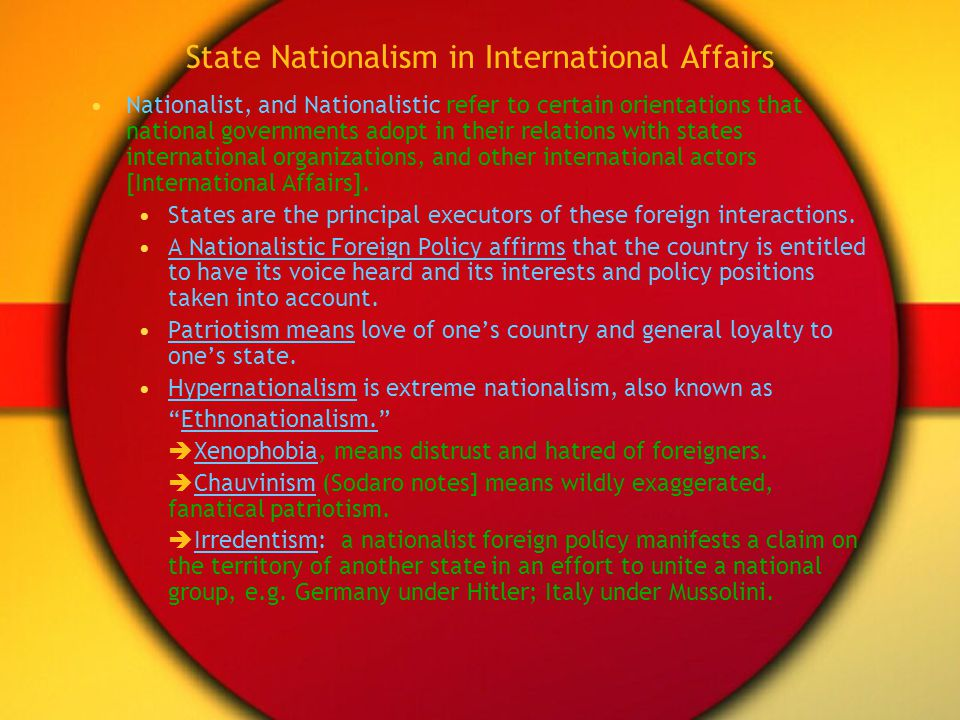 State Nationalism in International Affairs