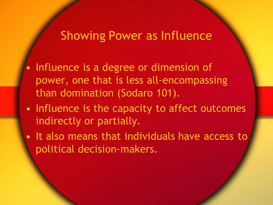 Showing Power as Influence