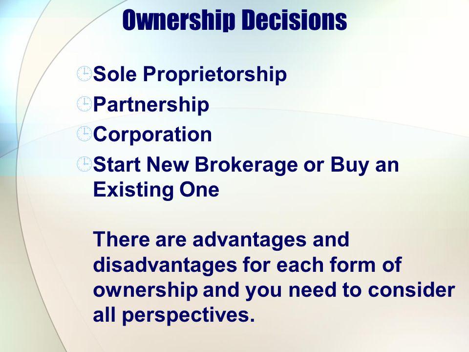 Ownership Decisions Sole Proprietorship Partnership Corporation