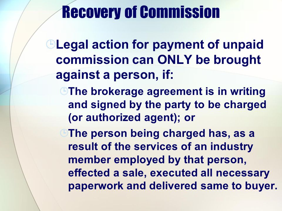 Recovery of Commission