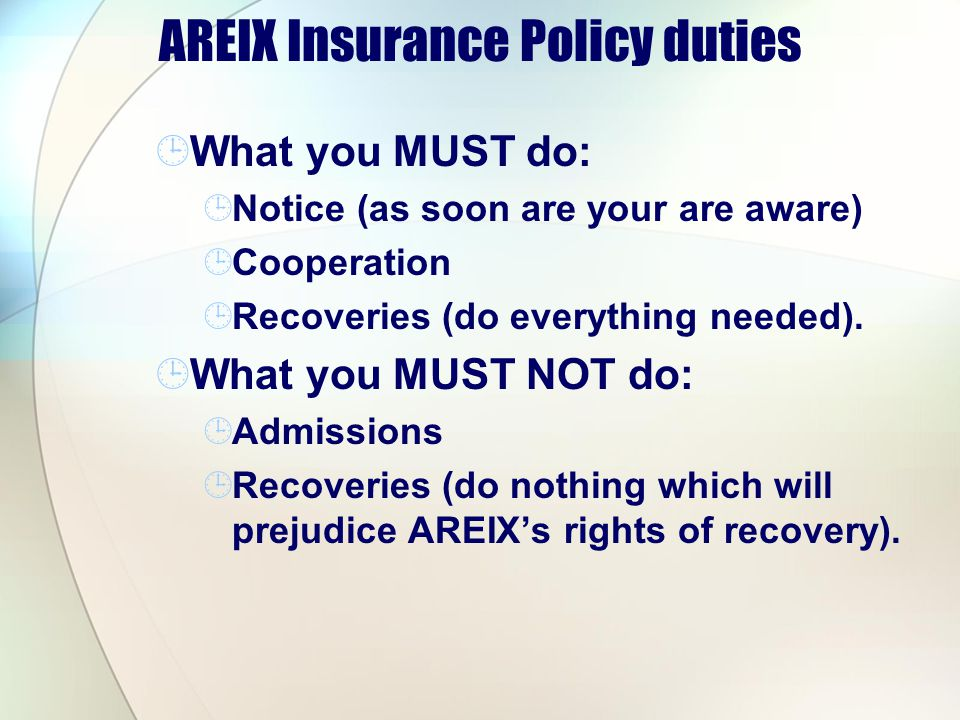 AREIX Insurance Policy duties