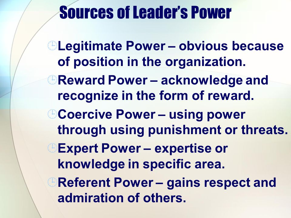 Sources of Leader's Power