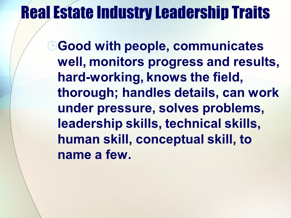 Real Estate Industry Leadership Traits