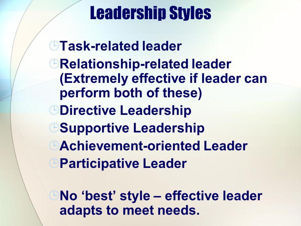 Leadership Styles Task-related leader