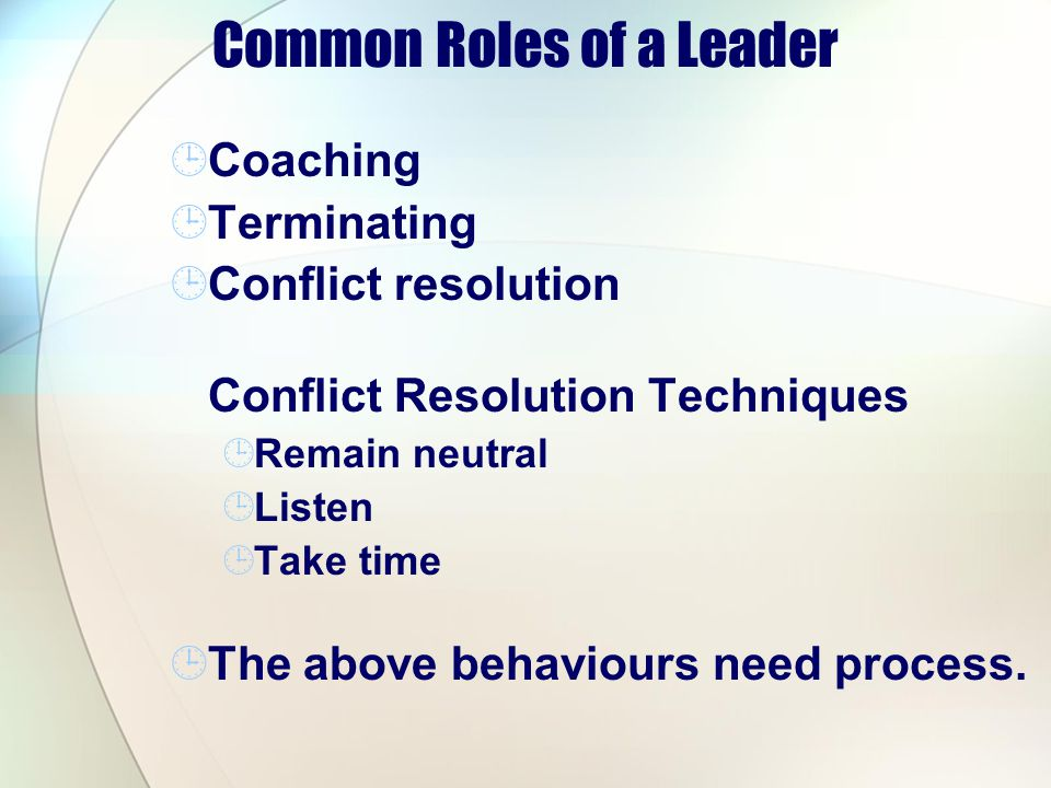 Common Roles of a Leader