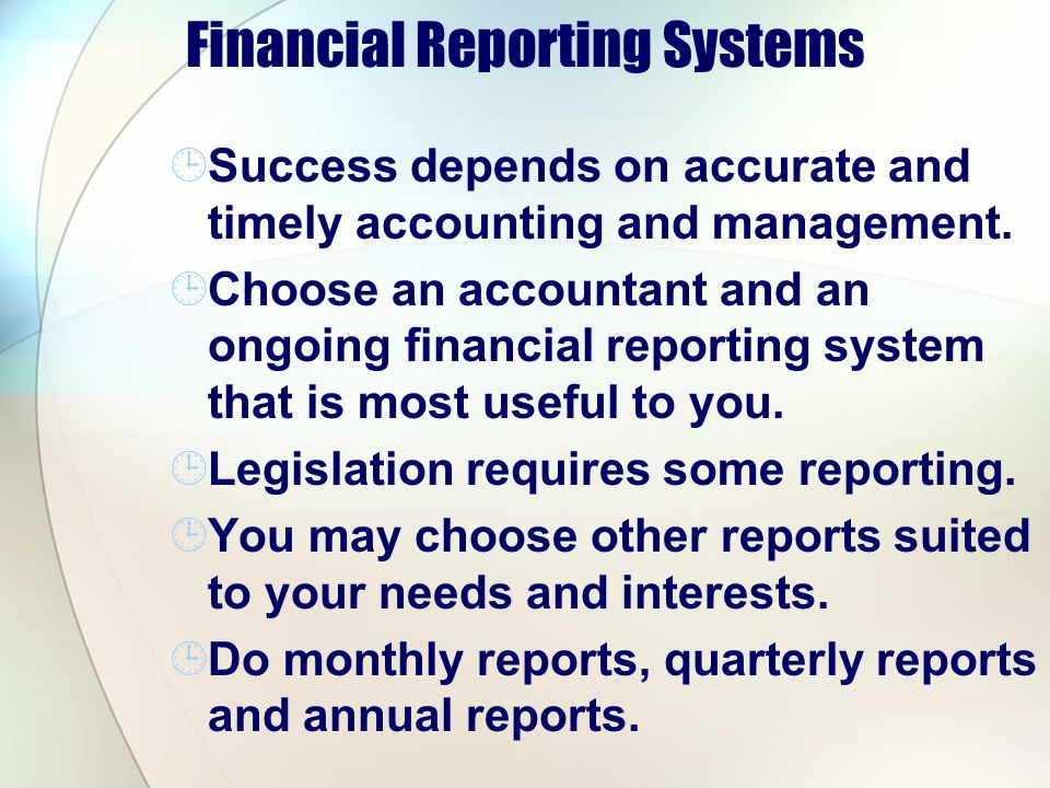 Financial Reporting Systems