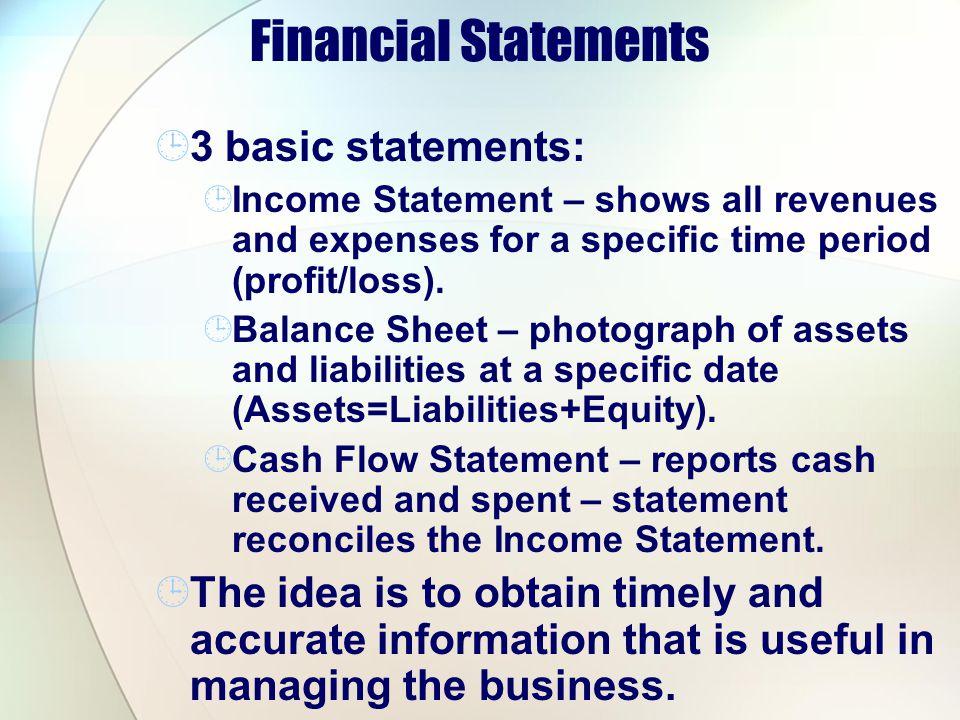 Financial Statements 3 basic statements:
