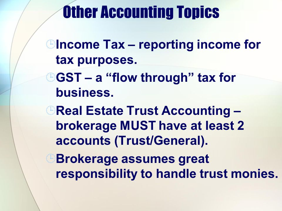 Other Accounting Topics