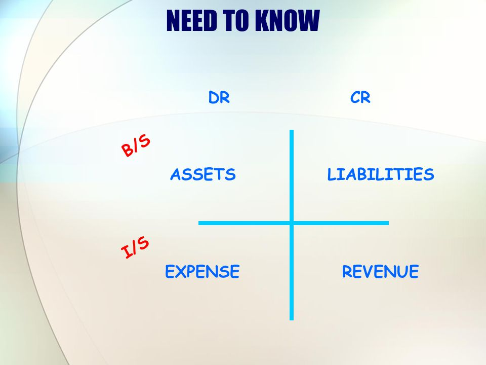 NEED TO KNOW DR CR B/S ASSETS LIABILITIES I/S EXPENSE REVENUE