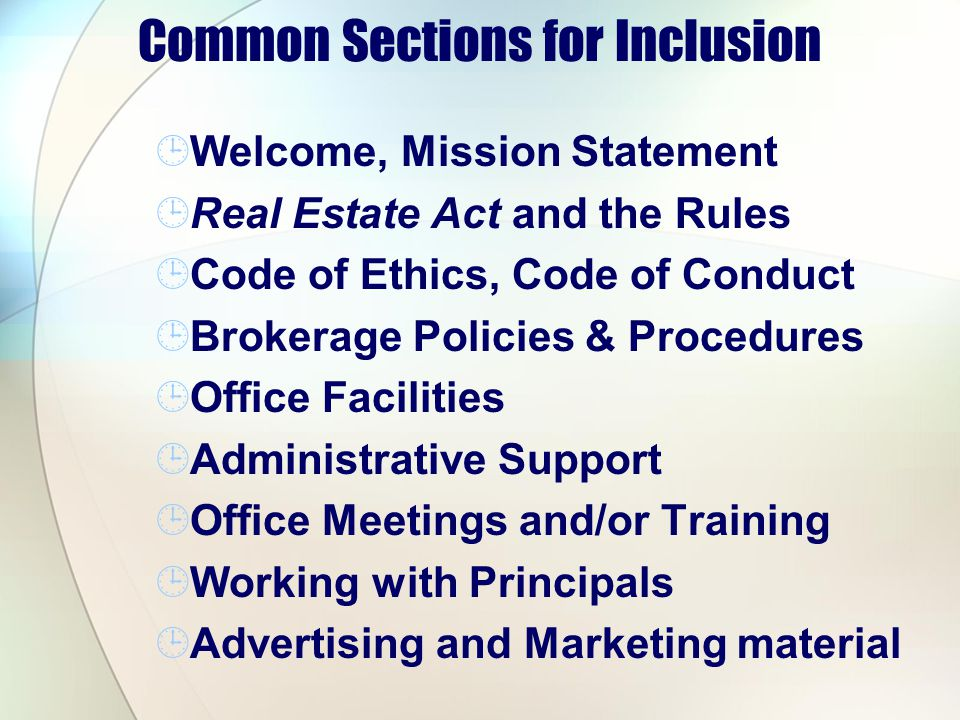 Common Sections for Inclusion