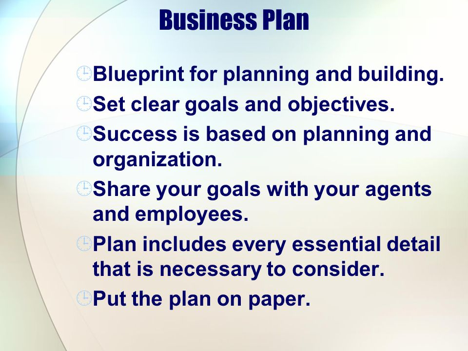 Business Plan Blueprint for planning and building.