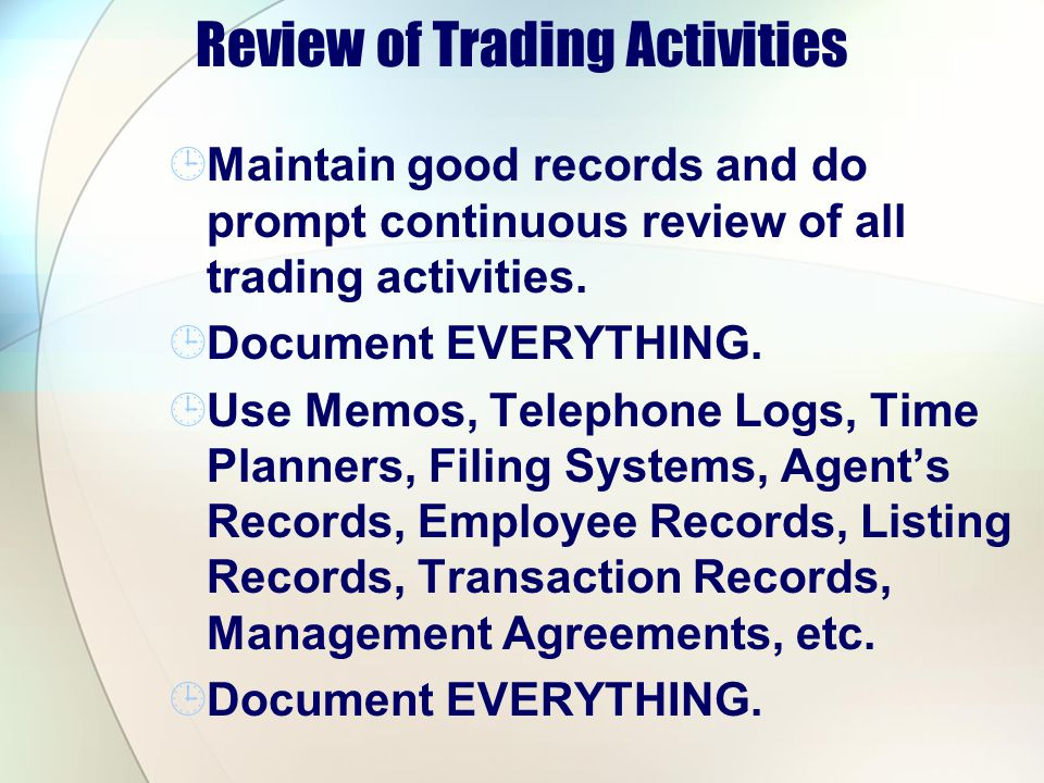 Review of Trading Activities