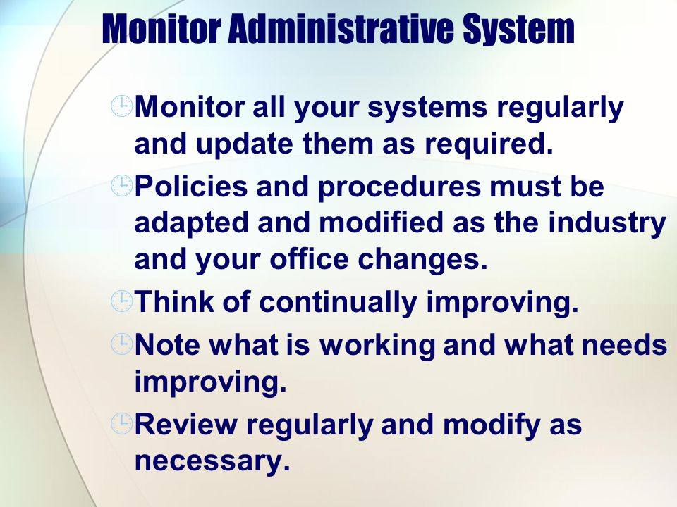 Monitor Administrative System