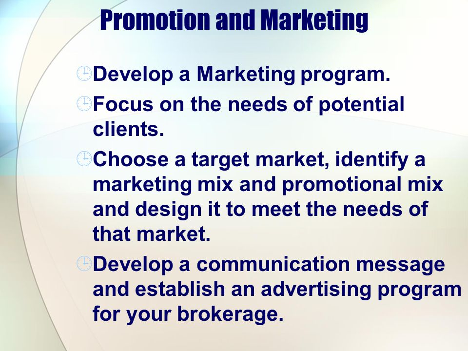 Promotion and Marketing