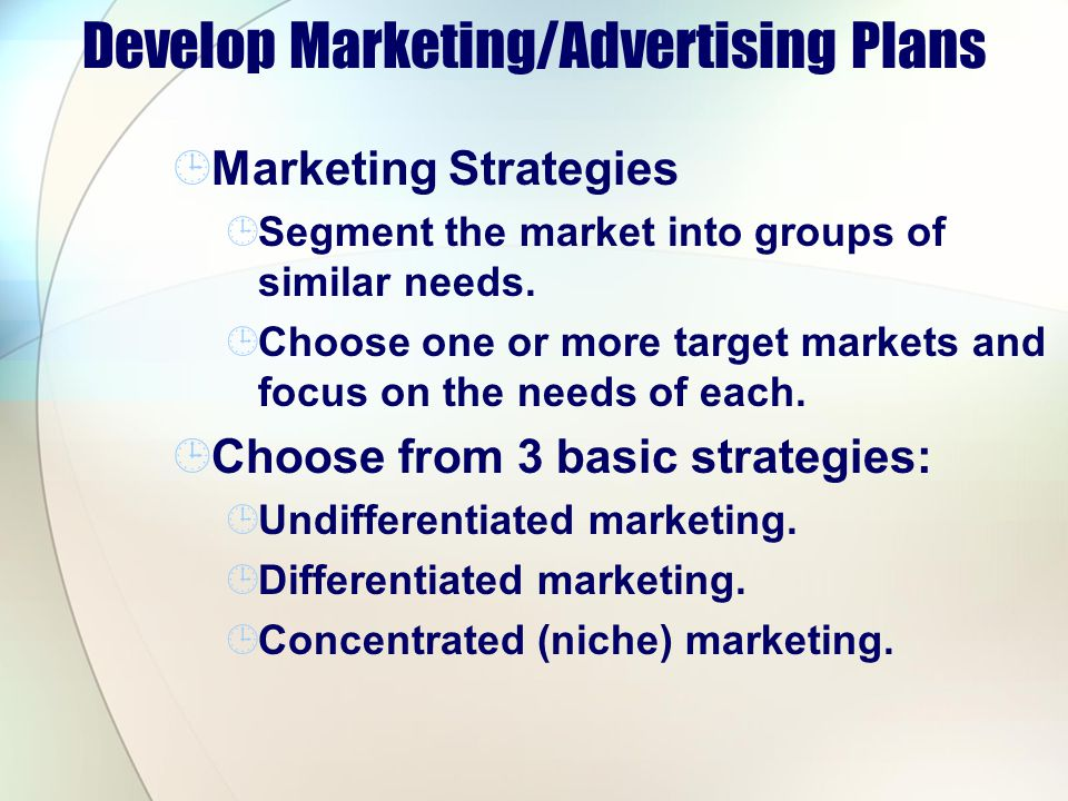 Develop Marketing/Advertising Plans