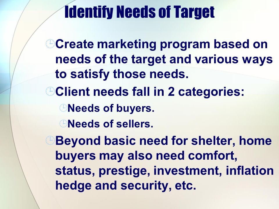 Identify Needs of Target