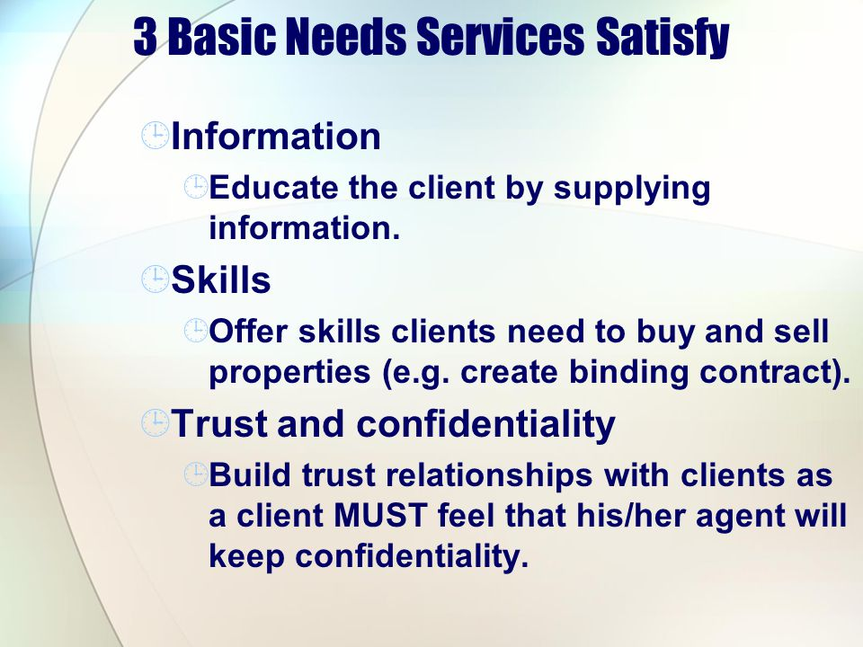 3 Basic Needs Services Satisfy
