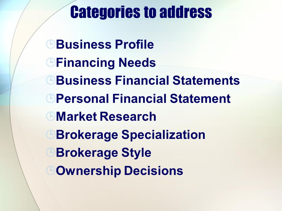 Categories to address Business Profile Financing Needs