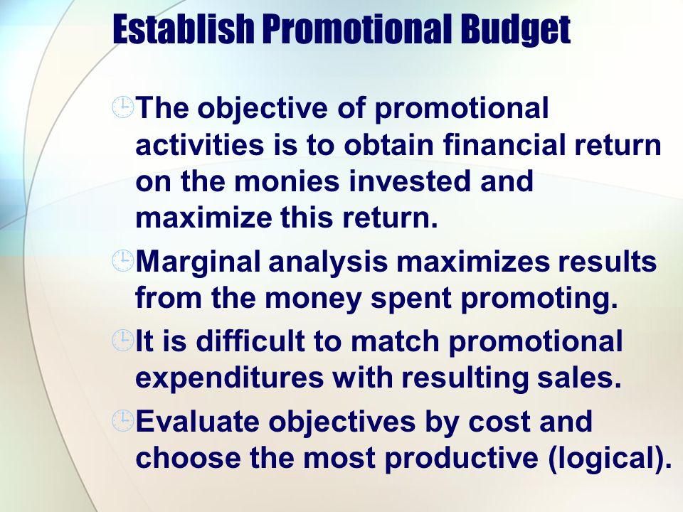 Establish Promotional Budget