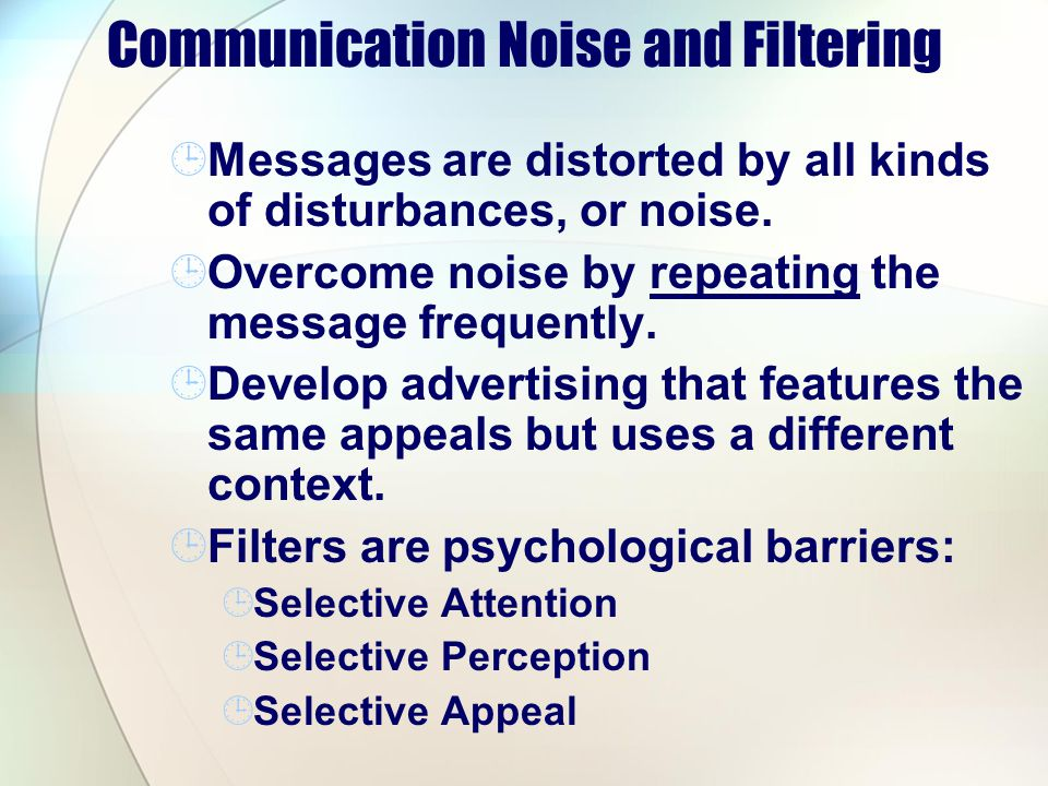 Communication Noise and Filtering