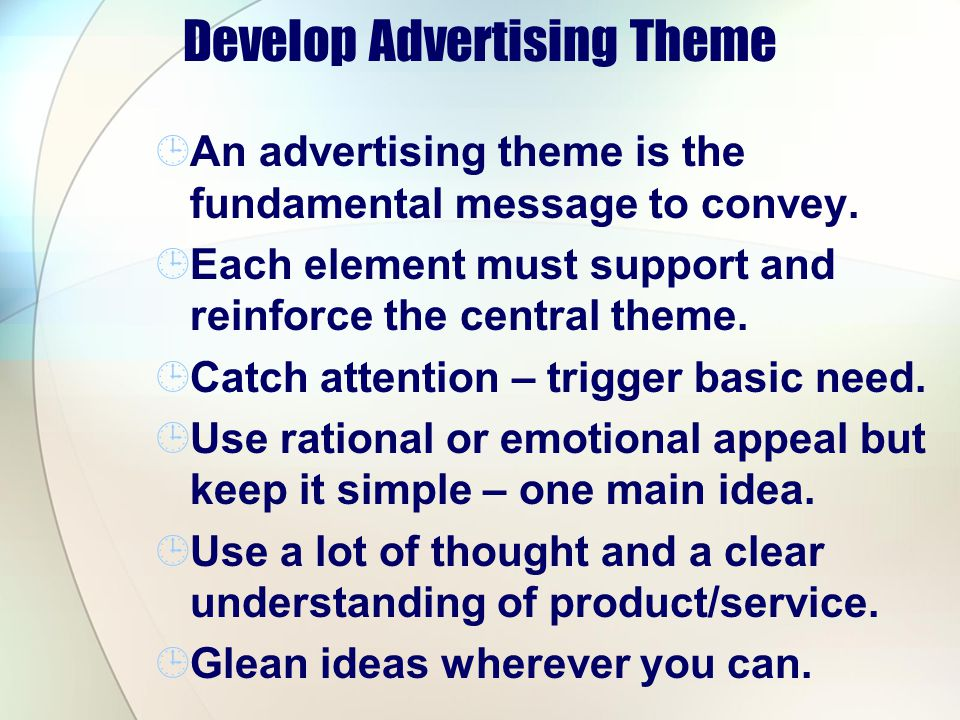 Develop Advertising Theme