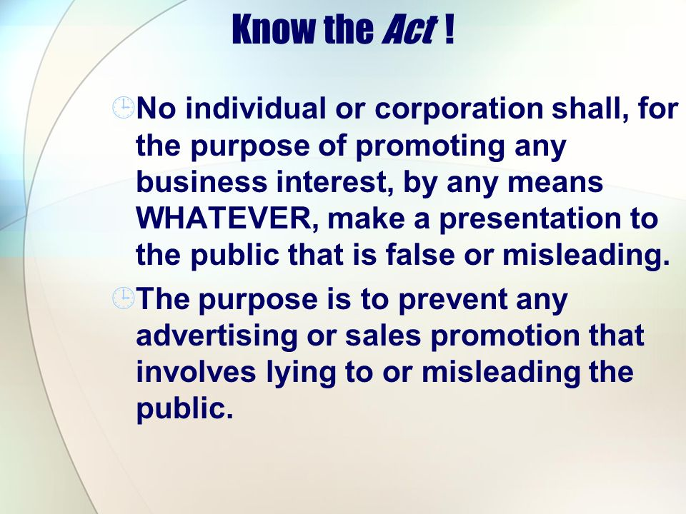 Know the Act !