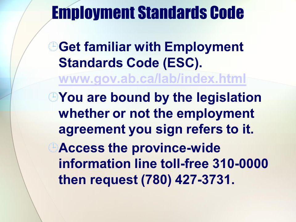 Employment Standards Code