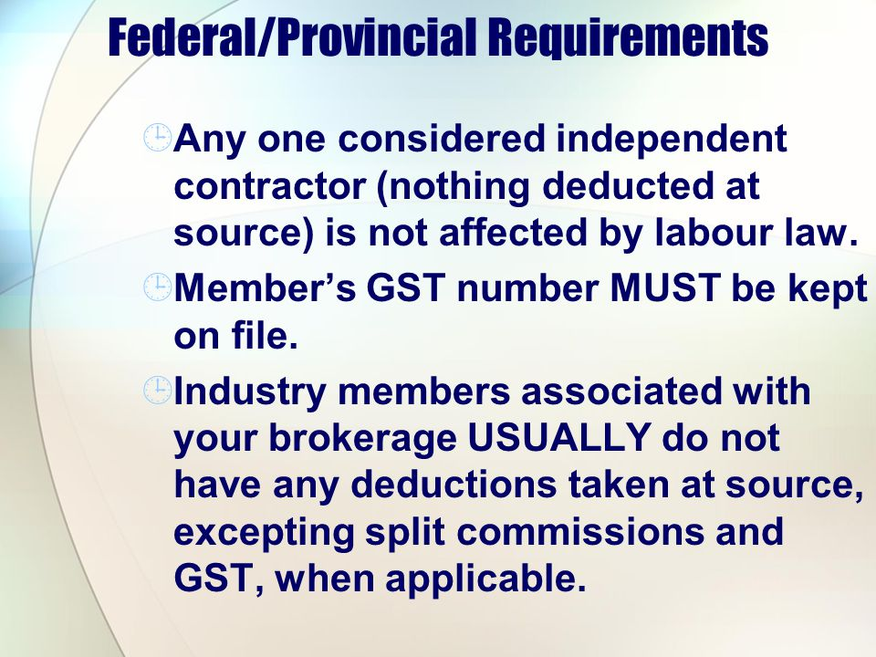 Federal/Provincial Requirements