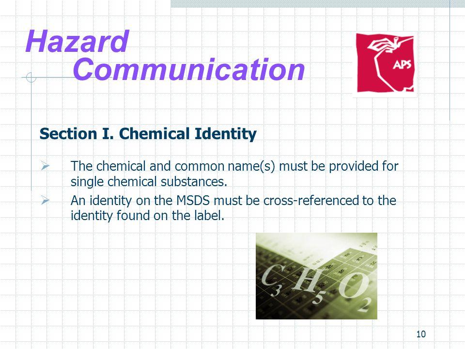 Hazard Communication Section I. Chemical Identity