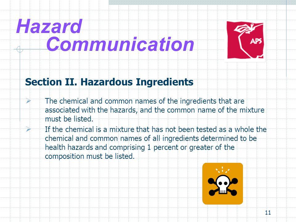 Hazard Communication Section II. Hazardous Ingredients