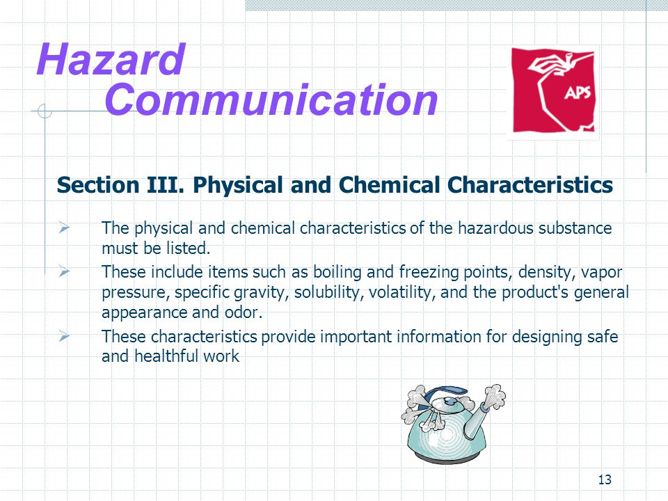 Site Safety Teams 4/1/2017. Hazard Communication. Section III. Physical and Chemical Characteristics.