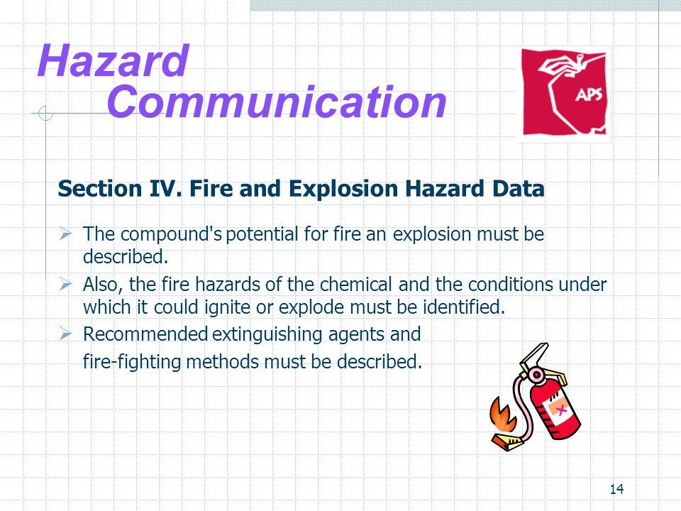 Hazard Communication Section IV. Fire and Explosion Hazard Data